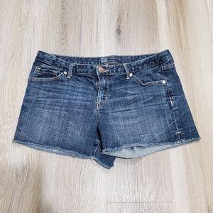 Mossimo shorts denim medium wash frayed hem 12